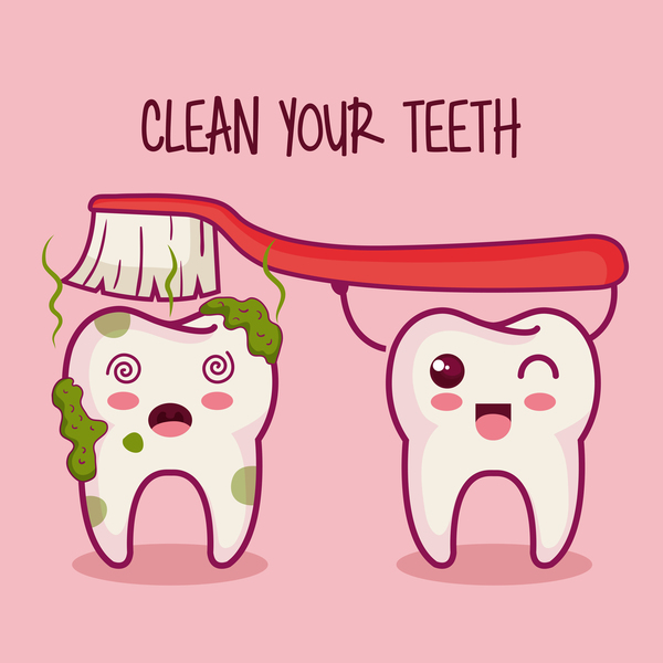 clean teeth cartoon vector