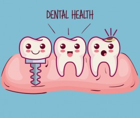dental health cartoon vector 03