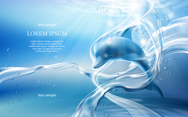 dolphin with water background vector