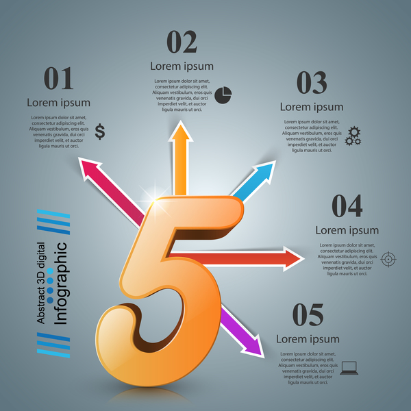 five arrows infographic vector