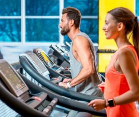 girl exercising on a treadmill Stock Photo