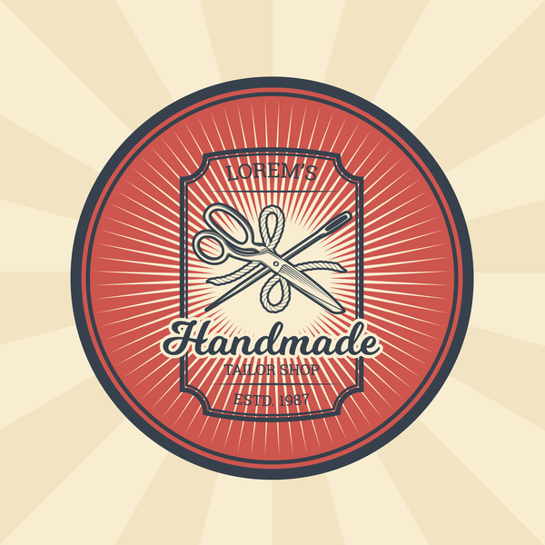 handmade tailor shop badge vector
