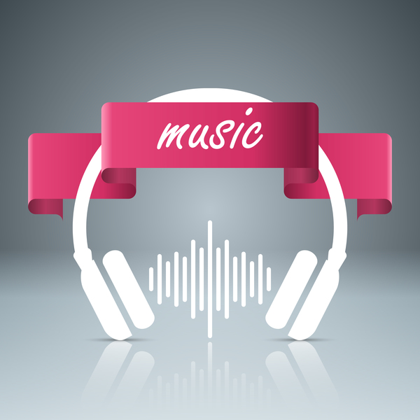 headphone with music vector