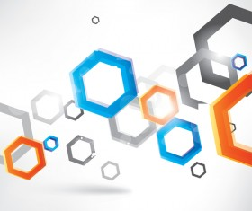 hexagon colored with abstract background vector