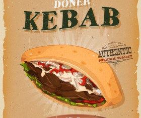 kebab sandwich poster and flyer retro vector