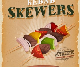 kebab skewers poster and flyer retro vector