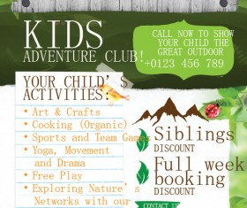 kids adventure club flyer template vector 01