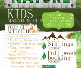 kids adventure club flyer template vector 02