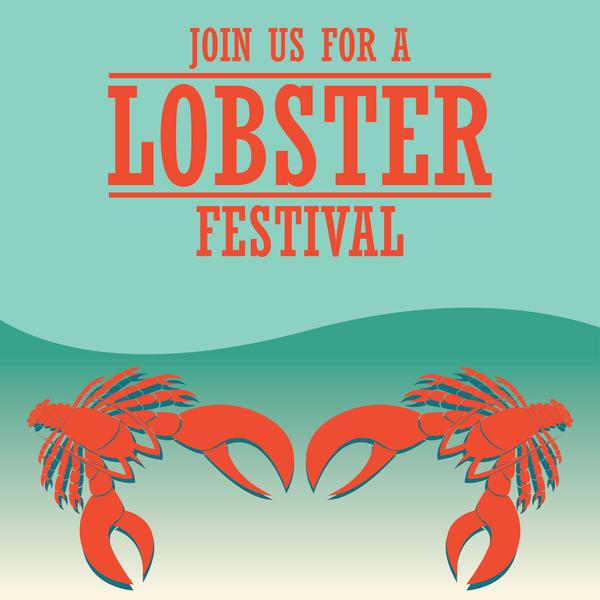 lobster frstivtal poster retro vectors 08