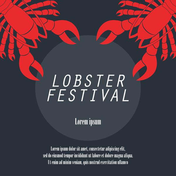 lobster frstivtal poster retro vectors 10