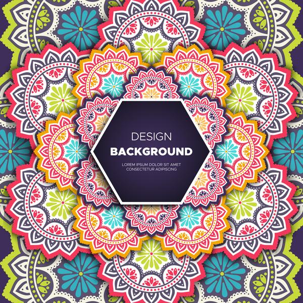 mandala pattern decor with orante background vector 01