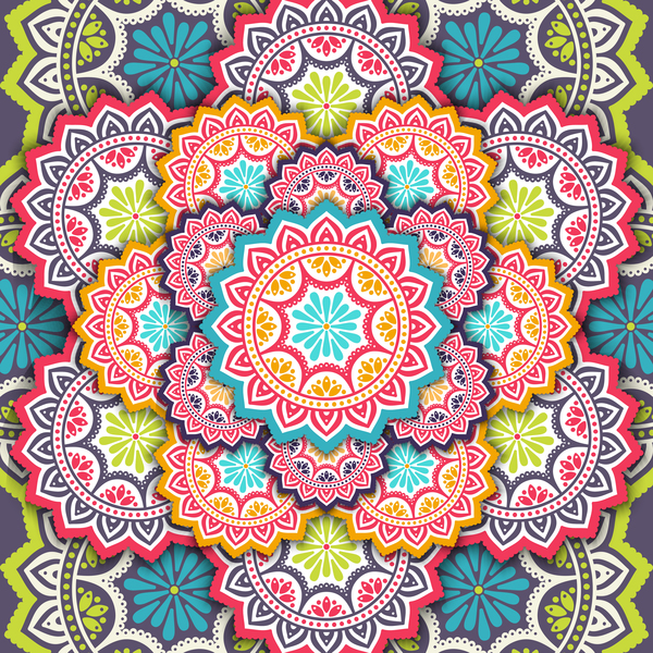 mandala pattern decor with orante background vector 02