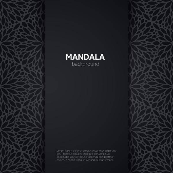 mandala pattern with black background vector 01