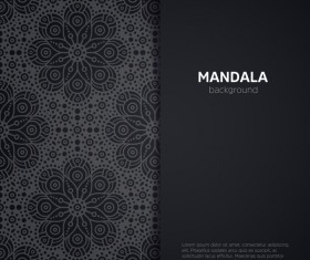 mandala pattern with black background vector 02
