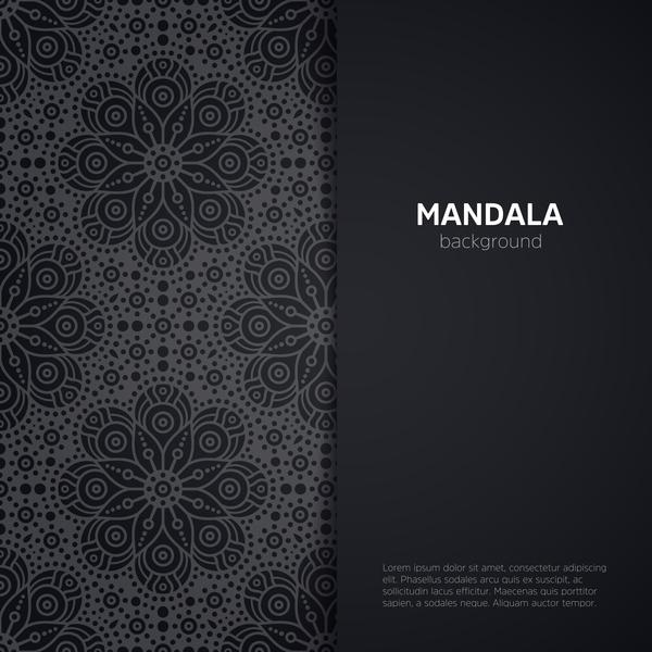 mandala pattern with black background vector 02