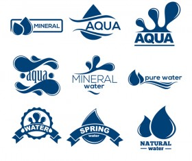 mineral water logos creative vector
