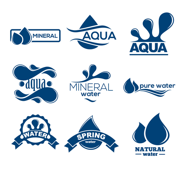 mineral water logos creative vector free download