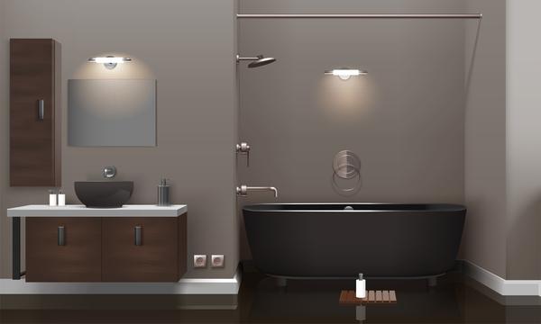 modern bathroom realistic interior vector