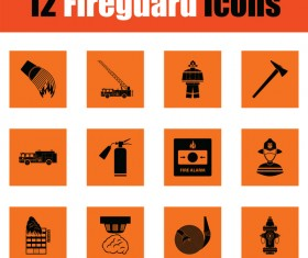 orange fireguard icons vector