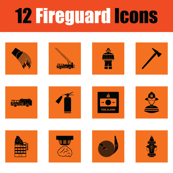 orange fireguard icons vector