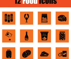 orange food icons vector
