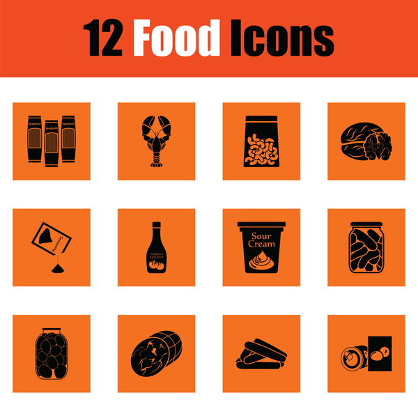 orange food icons vector