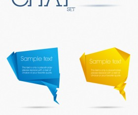 origami chat bubbles vector set