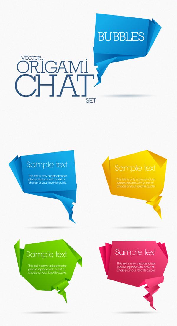 origami chat bubbles vector set