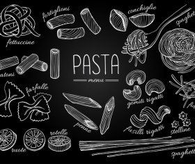pasta hand drawn elements vector