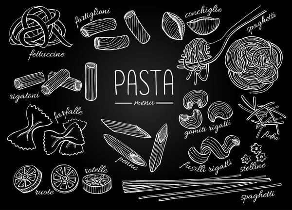 pasta hand drawn elements vector