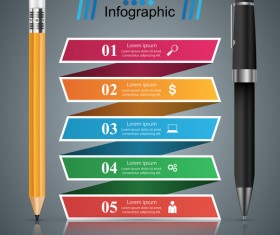 pen pencil infographic vector