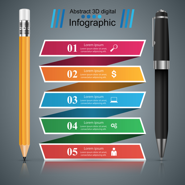 pen pencil infographic vector free download