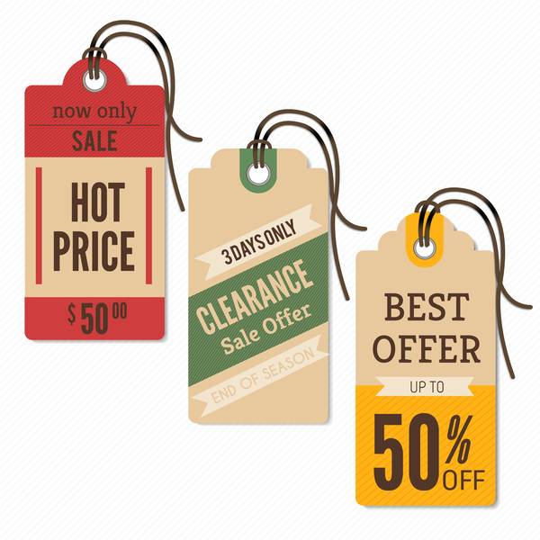 price coupon tags retro vector