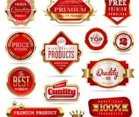 quality seals red labels vector