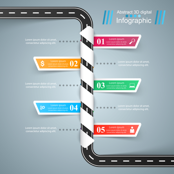 road color infographic vector 01