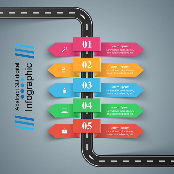 road color infographic vector 02