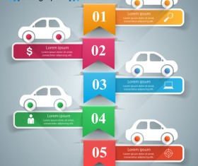 road five car infographic vector
