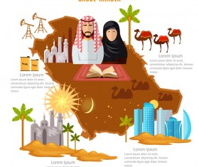 saudit travel with culture design vector