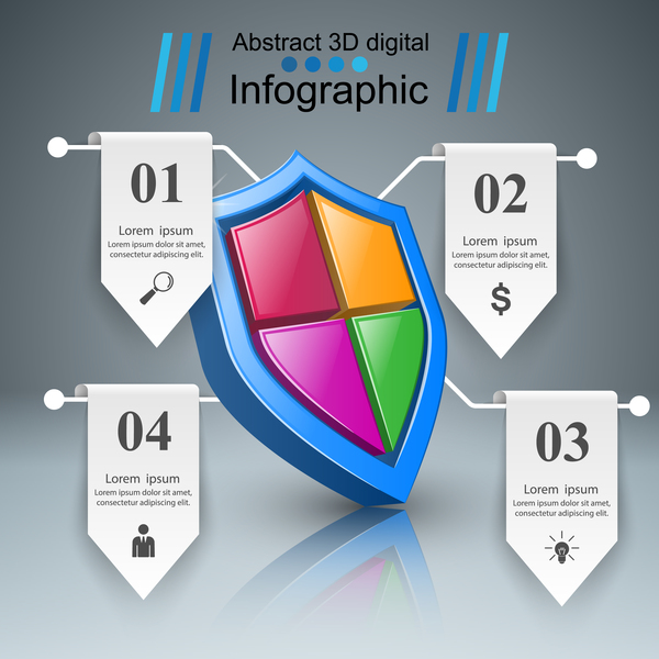 security line paper infographic vector