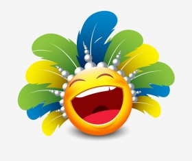 smiley laugh feathers icon 02