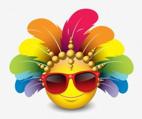 smiley with feathers and sunglasses icon 01