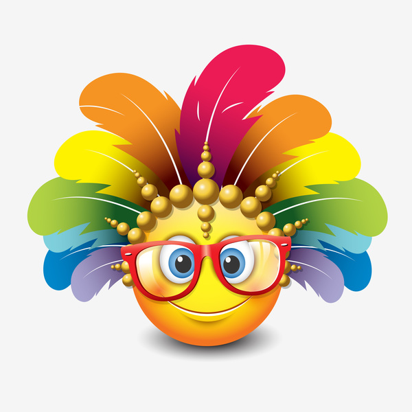 smiley with feathers and sunglasses icon 02