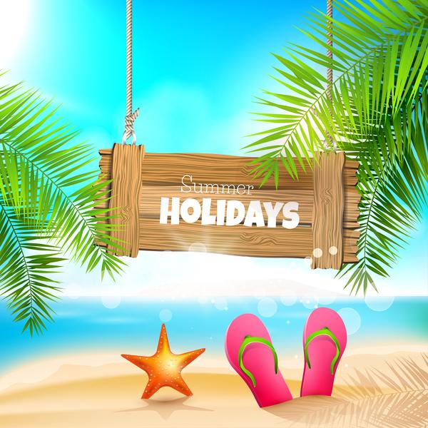 summer beach nobody sign flip flops background vector