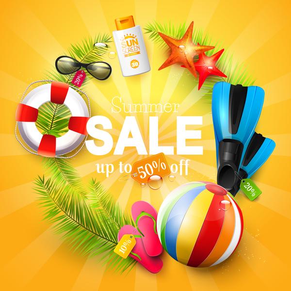 summer sale circle orange background vector