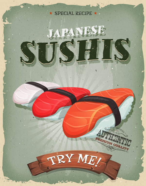 sushi poster and flyer retro vector