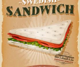 swedish sandwich poster and flyer retro vector