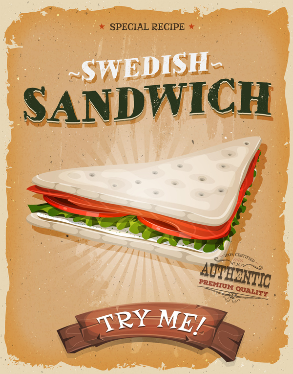 swedish sandwich poster and flyer retro vector