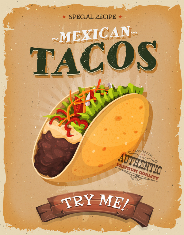 tacos poster and flyer retro vector