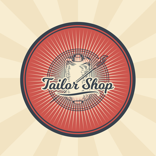 tailor shop badge retro vector 01