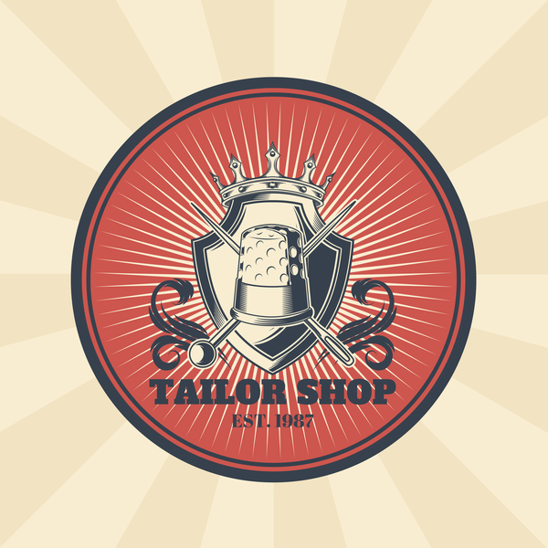 tailor shop badge retro vector 02